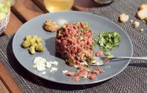 Freshly cut beef Tartare with home-made sauce.