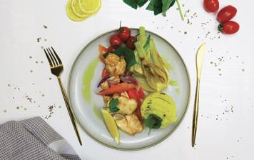 Piccata de poulet et légumes croquants