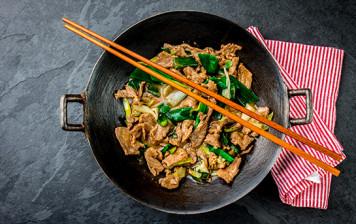 Beef and chard wok
